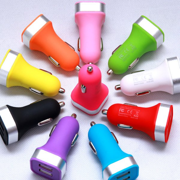 Colorful Universal Dual USB 2 Port Car Charger Cigarette 2.1A Auto Power Adapter For iPhone 5 6 6Plus Ipad Samsung HTC LG
