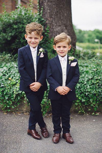 Navy Blue 2 Pieces Suit For Little Boys Cool Kids Formal Wear Custom Made Boy Wedding Suit (Jacket + Pants)