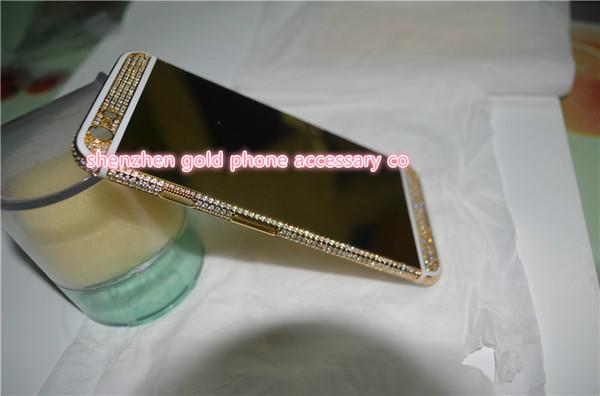 Habitação de cristal de habitação de volta bateria de chapeamento de ouro 24k para iphone6 plus (1 branco 2 preto), 6s linha preta 1 pc total 4 pcs