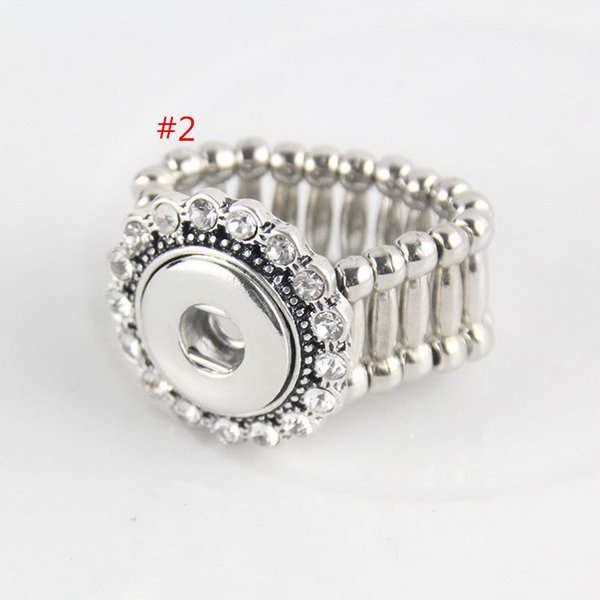 top popular 5 styles choose DIY crystal ring SNAP BUTTON CHARM stretch RING. DIY stretch ring without snap button charms 2019