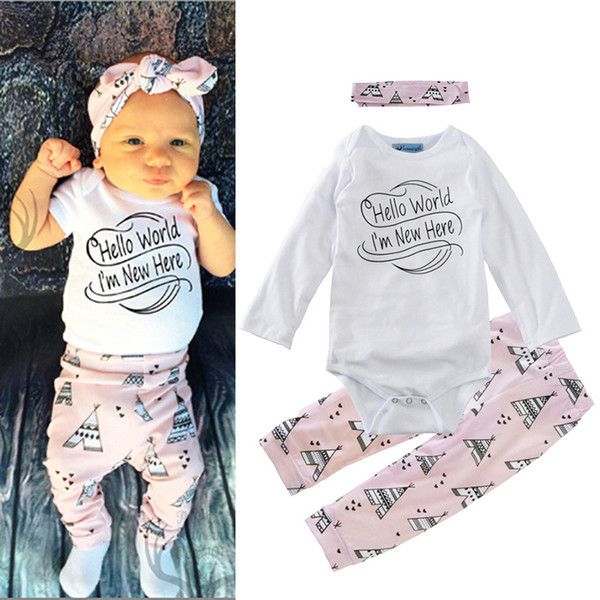 Boys Girls Three-piece Suits Letters Winter Autumn Spring Casual Suits Shirts Pants Hat Infant Outfits Kids Tops & Shorts 0-24M