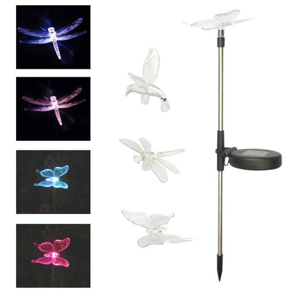 Libellule solaire chaude, lampe de jardin à LED solaire extérieure, lampe à gazon à fiche papillon
