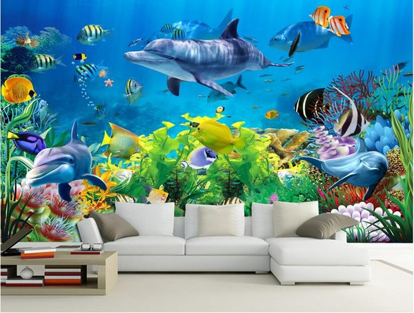 top popular 3d wallpaper custom photo non-woven mural wall sticker Coral sea world fish painting picture 3d wall room murals wallpaper 2021
