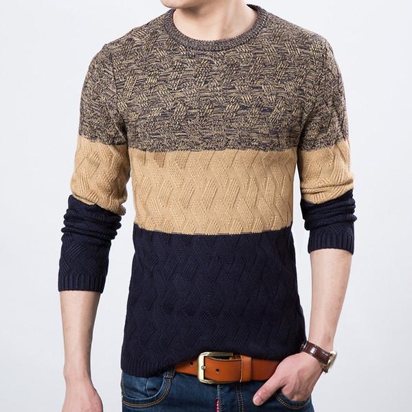 Venta al por mayor-2016 nuevo otoño invierno en Europa y América costura personalidad de cobertura hombres moda casual cuello redondo suéter de manga larga