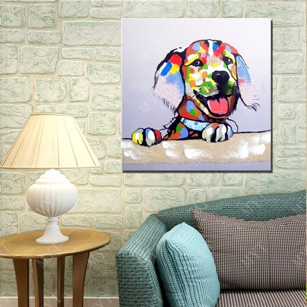 2016 Free Shipping New Design High Quality Cartoon Animal Dog Oil Painting No Framed Handpainted Picture Wall Art Oil Painting on Canvas