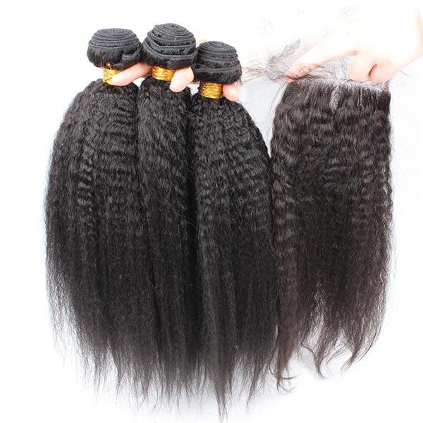 8A Sınıf Brezilyalı Afro Kinky Düz Saç Kapatma Ile 4 Adet Lot İtalyan Kaba Yaki Dantel Üst Kapatma Adet 4x4 Insan Saç Demetleri Ile