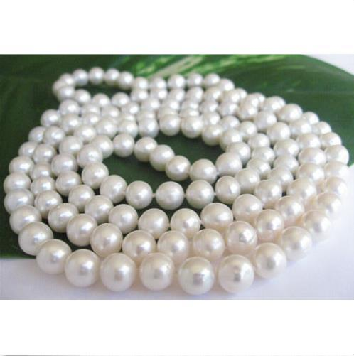 natural south sea white round pearl necklace 10-11mm 35 inch 14K yellow Clasp