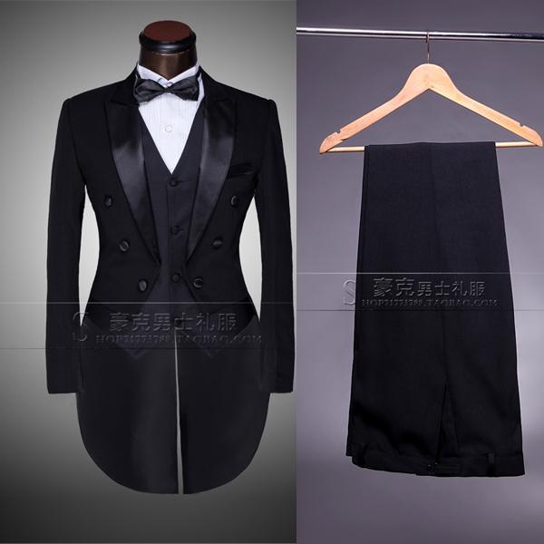 Wholesale-Custom Brand New cool Groom Tuxedos Men Wedding Dress Bridegroom Suit Best man Suit swallow-tailed coat (Jacket+Pants+tie+vest )