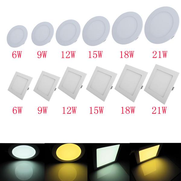DHL Free Ship Dimmable LED Panel de techo empotrado Down Light 6/9/12/15/18 / 21W Redondo Panel cuadrado Light Warm White / Natural White / Cool White