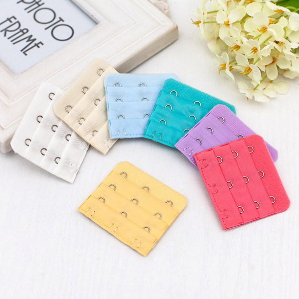 top popular Wholesale for Useful Ladies 3 Rows 3 Hooks Bra Strap Long Extender Hook Clip Nude Adjustable Belt Buckle with multi-color ava 2020