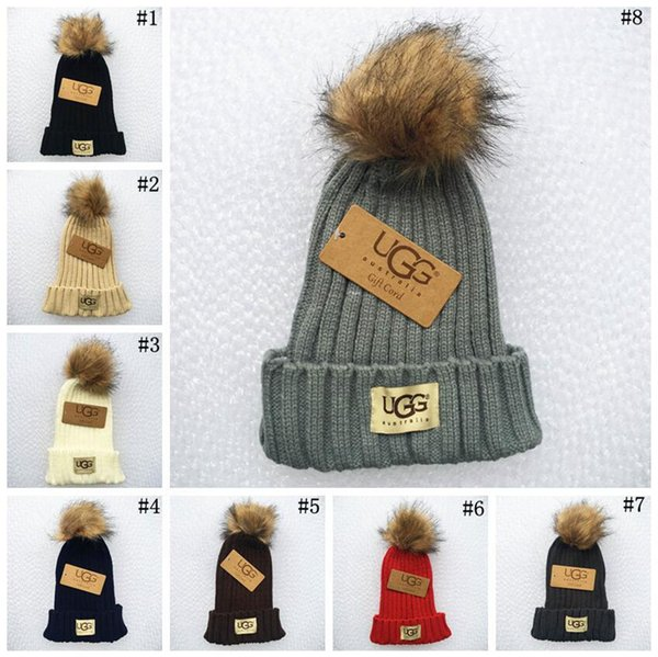 Women Winter Pom Pom Ball Knit Beanie Ski Cap Bobble Hat Fur Knitted Hats 8 Colors 10pcs LJJO3318