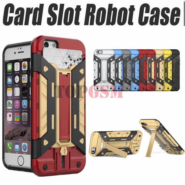 For S7 S7 edge Shockproof Hybrid Heavy Duty Armor Transformer Robot Stand Case Card Slot for iPhone 6 6s Plus 5s 5C Galaxy Note 5 S7 Edge