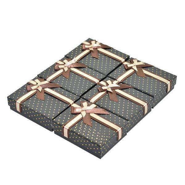 2018 The New 24Pcs/Lot Jewelry Ring Earrings Polka Dot Gift Box Black dotted gold polka dot jewelry box
