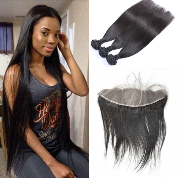 Silk Base Frontal with Bundles Unprocessed Malaysian Straight Human Hair Free Part Frontal with 3 Bundles Hair Extensions FDSHINE
