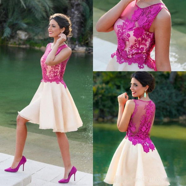 Sheer Neck Short A-line Party Dresses Ruched Fushia Lace Appliques Ruched Organza Formal Evening Prom Gowns Cheap Dubai Arabic Vestidos