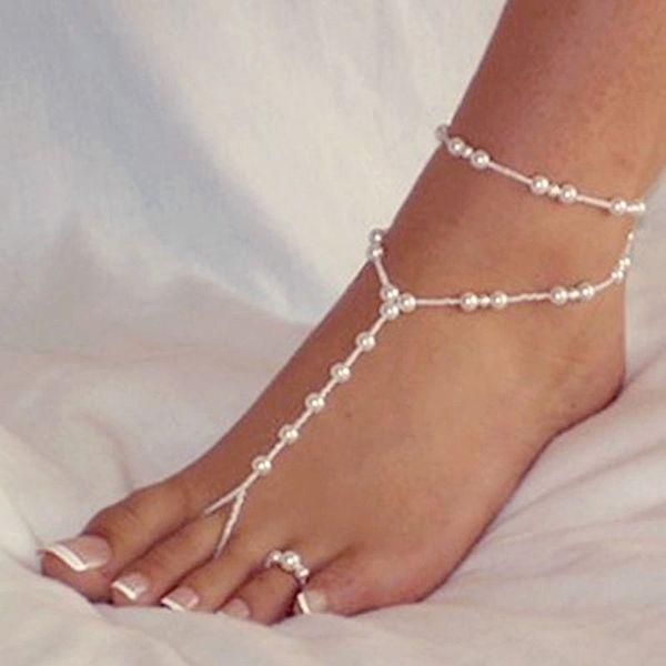 Fashion Women Ankle Bracelet Beach Imitation Pearl Barefoot Sandal Tornozeleira Femininas Foot Jewelry Anklet Chain body jewelry