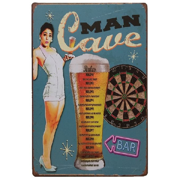 Man Cave Bar Beer Retro rustic tin metal sign Wall Decor Vintage Tin Poster Cafe Shop Bar home decor
