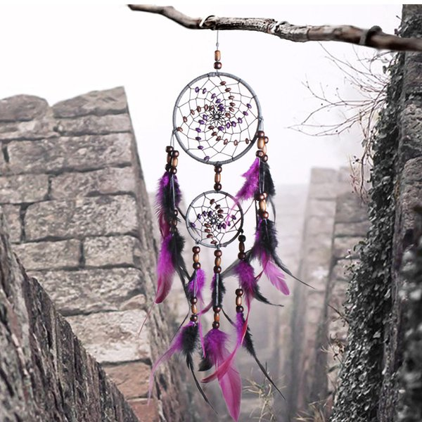 Romantic Purple Dream Catcher Net With Feathers Hanging Decoration Dreamcatcher Wind Chimes For Car Kids Bed Room Wall Hanging D360L