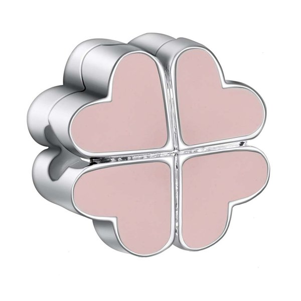 925 Sterling Silver Charms Clip Pink Enamel Heart Clover European Charm Beads For Snake Chain Bracelet DIY Original Jewelry