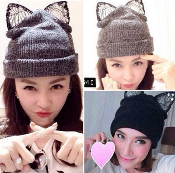 Lace diamond lovely Han edition cat ears wool knitting hat women fall/winter days For Women Girls Wool Hat