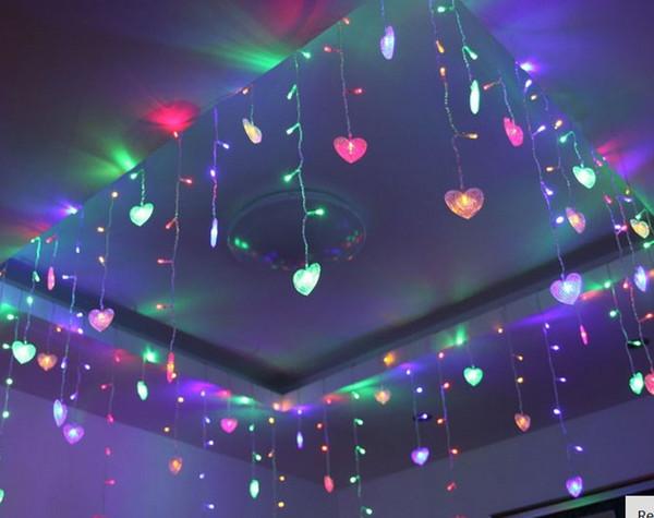 8m LED Curtains Garland Love Heart string luce natale capodanno festa di nozze luminaria decorazione lampade illuminazione