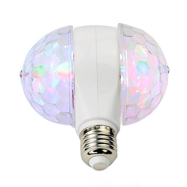 6W E27 RGB Auto Rotating LED Strobe Bulbs Colorful Crystal Stage Light Magic Double Balls Led Bulbs Party Lamp Disco DJ Christmas Light