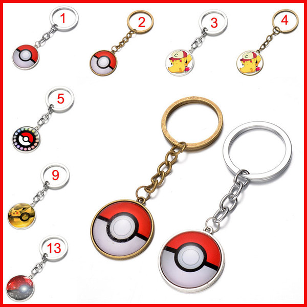 40 colors Pocket Monster Poke ball keychain Glass cabochon Key Rings Time gem key ring keyring pendants men women bags hang jewelry 170583