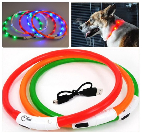 Brand new Pet Dog accessories USB LED flashing light dog Collars rechargeable battery 7 colors free shipping