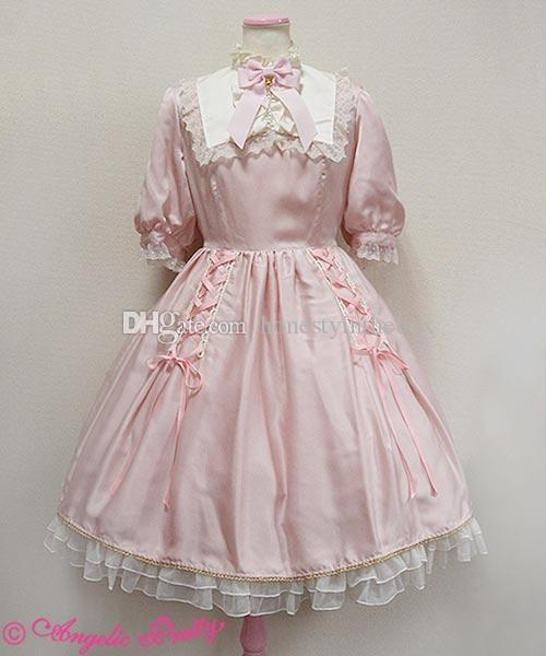 Hot Sale 2017 Pink Cotton Peter Pan Collar Short Sleeve Back Sashes Bow Ruffles Gothic Lolita Dresses For Women