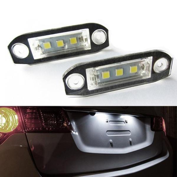 2Pcs LED Licence Plate Light Number Lamp For Volvo S40 S60 S80 V50 XC60 XC70 XC90 V50 E-marked White