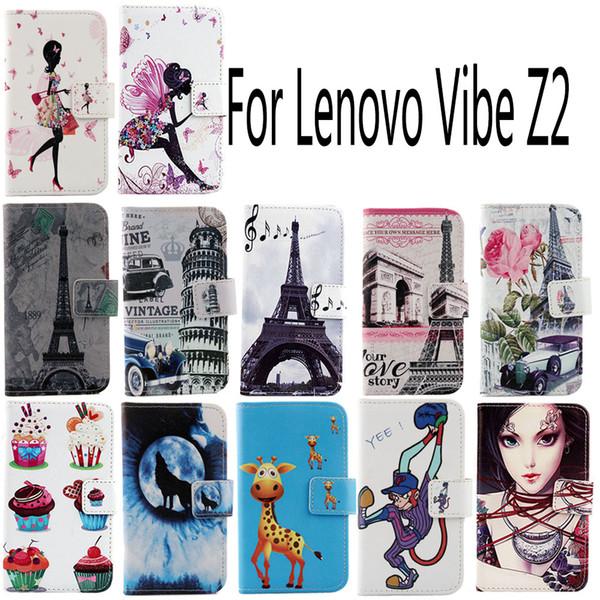 Pour Lenovo Vibe Z2 Mode Pochette De Protection Couverture De La Peau Avec Fente Pour Carte PU Housse En Cuir Cas de Téléphone