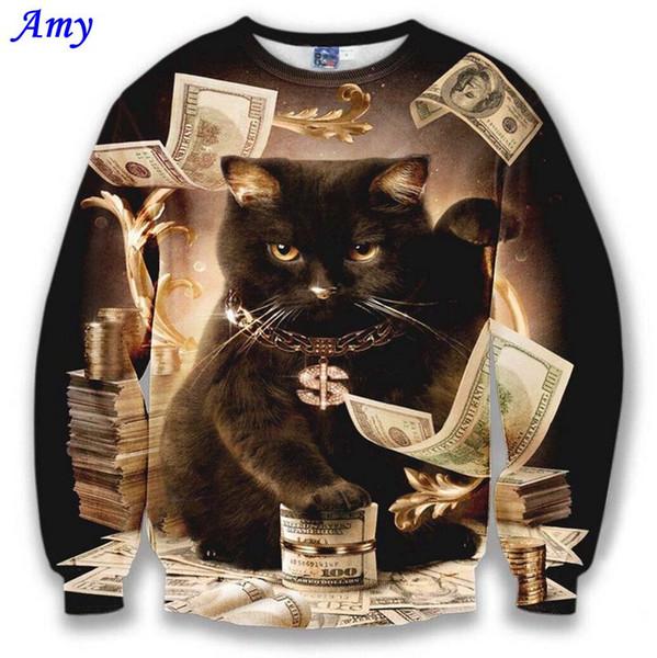 Vente en gros- [Amy] Sweat-shirt modèle sympa pour hommes / femmes sweat-shirt 3d drôle imprimé gros dollars chat et fleurs dorées sweats à capuche automne