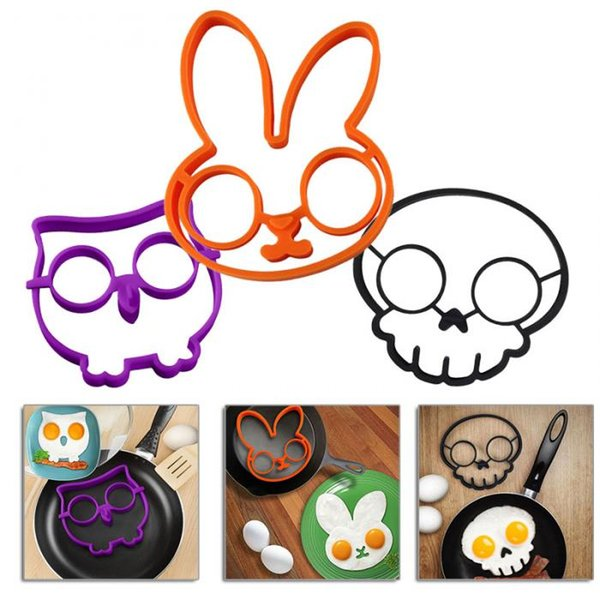 Silicon egg ring Egg Mold Pancake Moulds Owl Hoot Bird Skull cloud Fried Egg Art Kitchen gadget creative funny egg holder tray