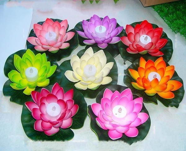 Artificial LED Candle Floating Lotus Flower With Colorful Changed Lights For Birthday Wedding Party Decorations Supplies Ornament