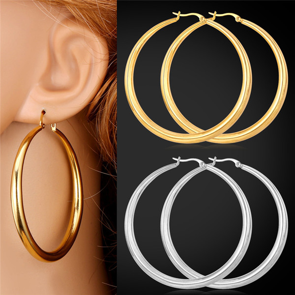 best selling U7 Big Earrings New Trendy Stainless Steel 18K Real Gold Plated Fashion Jewelry Round Large Size Hoop Earrings for Women