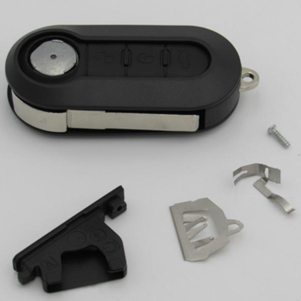 Mejor shell llave de recambio coche de la calidad de Fiat 500 3 botones flip plegable de la caja en blanco dominante alejada con abrazadera de la batería