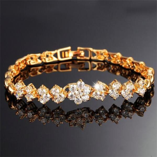 Yeni Moda 18 K Gerçek Altın Kadınlar Için Bilezik Lüks Beyaz Taşlar Zirkonya Düğün Takı Bileklik Toptan Aksesuarları 429