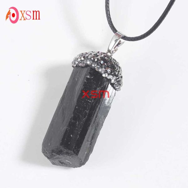 10P Natural Black Tourmaline Druzy Ore Gem Stone Healing Reiki Bead Pendant Raw Energy Chakra Natural Stone Pendants For Women Free shipping