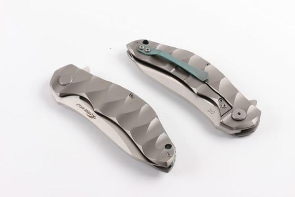 2019 Yeni High End Flipper Katlanır Bıçak D2 Saten Bıçak CNC TC4 Titaniumn Alaşım Kolu Rulman Hızlı Açık Bıçaklar EDC Araçları