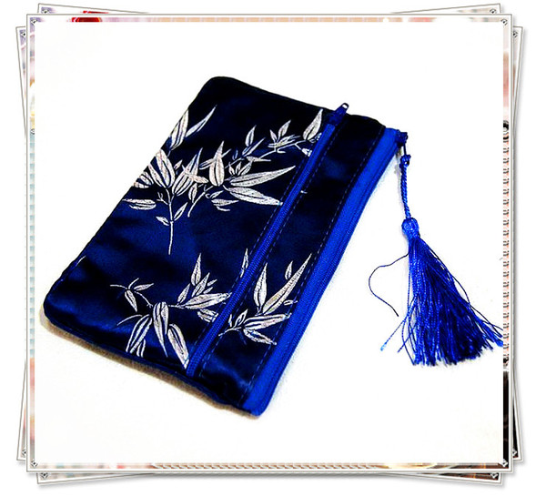 Tassel Double Zipper Travel Jewelry Packing Bag Silk Brocade Money Bag Necklace Bracelet Bag Makeup Cosmetic Pouch Coin Purse Phone Wallet
