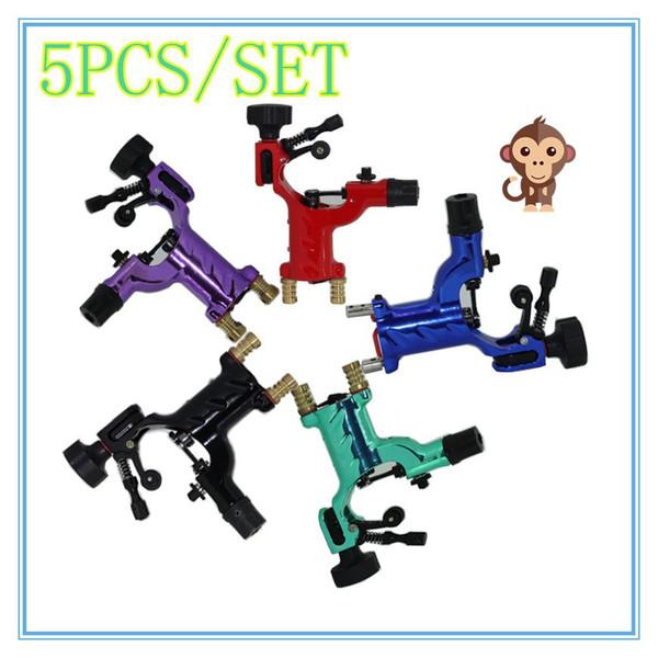 5pcs / set libellule rotatif machine de tatouage shader liner 7 couleurs assorties kit de pistolet à moteur tatoo fournir pour les artistes