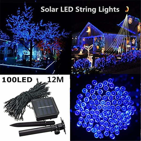 Led Christmas Light.2019 Hot Sale Outdoor Led Christmas Lights 100led 12m Color Led Solar String Lead Fairy Lights For Holiday Garden Christmas Wed Home Decoration From