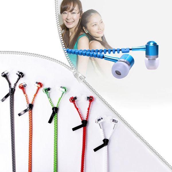 Auricolari con cerniera 3.5mm Jack Bass Auricolari In-Ear Zip Cuffie con microfono per Iphone 8 Plus Samsung S8 MP3 MP4