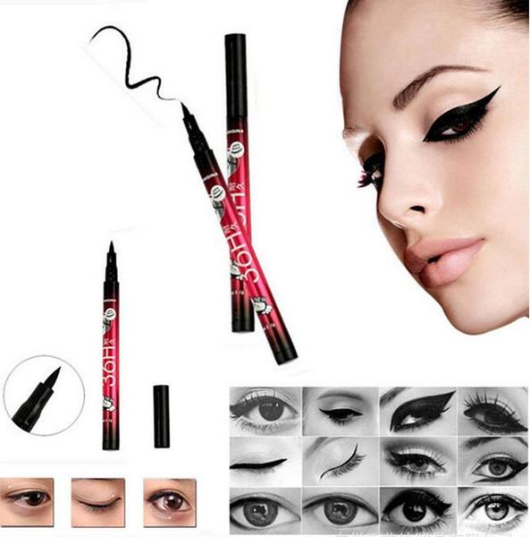 YANQINA Mujeres Chica Negro Impermeable Pluma Delineador de ojos Líquido Delineador de Ojos Lápiz 36 H Maquillaje Belleza Comics Dropshipping
