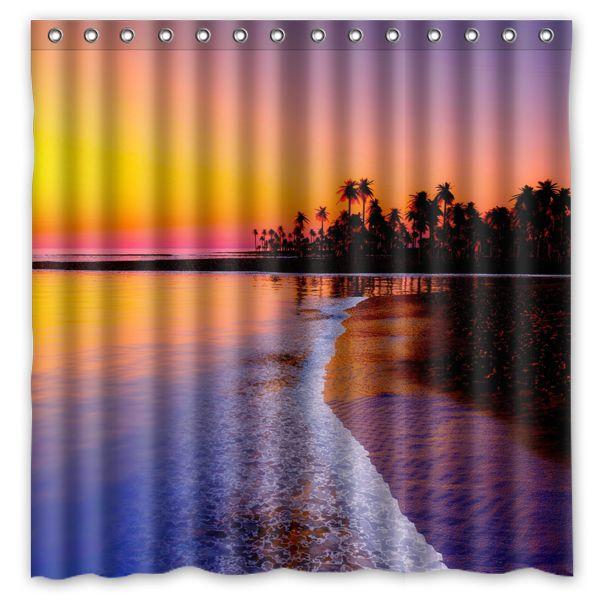 Beautiful Sunset Palm Tree Shower Curtain Polyester Fabric Waterproof /& 12 Rings