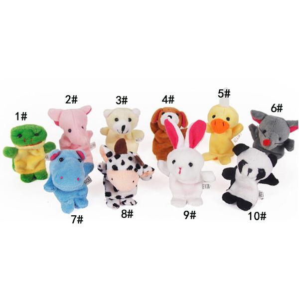 top popular Cute Cartoon Biological Animal Finger Puppet Plush Toys Child Baby Favor Dolls Boys Girls Finger Puppets 2020