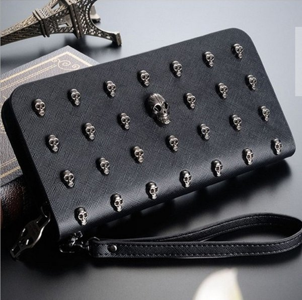 2016 New Women Wallets Zipper Wallet Fashion Ladies Purse Female Clip Trend Korea Hand Bag Cute Skulls | CrossBones Wallet