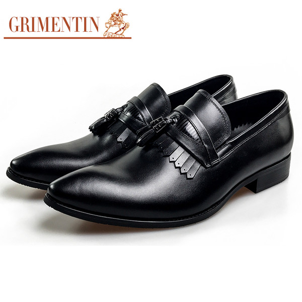 GRIMENTIN Hot sale formal mens dress shoes Italian fashion designer tassel slip-on men loafers genuine leather business wedding male shoes