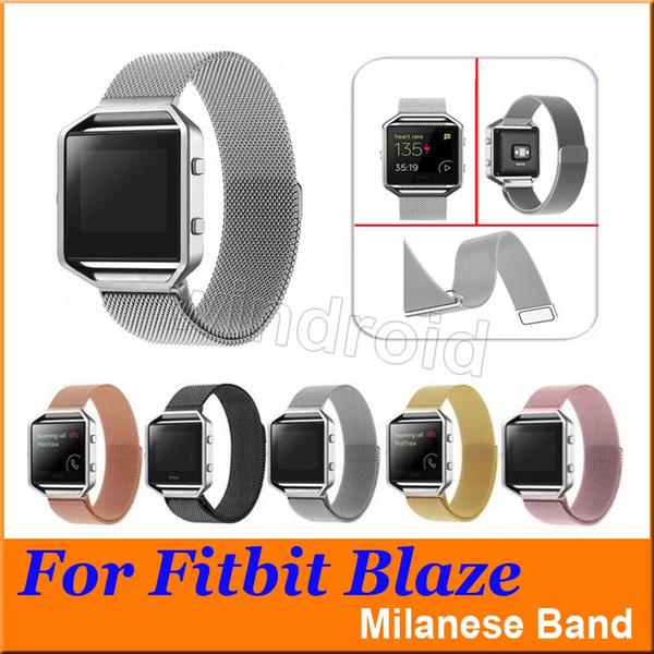 Buntes magnetisches Milanese Schleifen-Metallband für Fitbit-Flammen-Verfolger-Band Smart-Uhrenarmband Armband-Bügelgold Silber Roségold Rosa 50pcs
