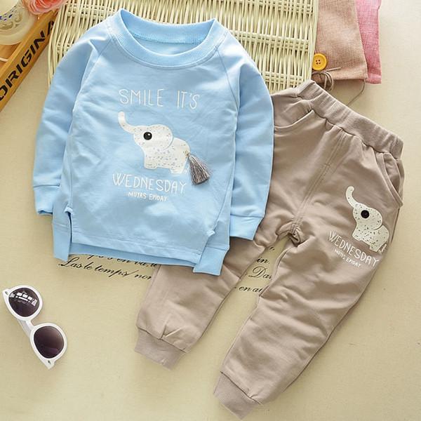 Abiti natalizi per Baby Boy Boutique Set di abbigliamento Cute Elephant Felpa Top + Pantaloni casual 2PC Suit Kid Wear Clothes Tuta 1-4T